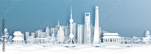 Fototapete Panorama view of Shanghai skyline with world famous landmarks of China in paper cut style vector illustration.