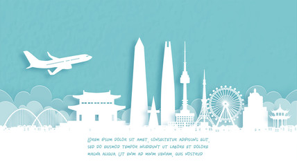 Fototapete - Travel poster with Welcome to South Korea famous landmark in paper cut style vector illustration.