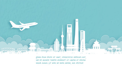 Fototapete - Travel poster with Welcome to shanghai, China famous landmark in paper cut style vector illustration.
