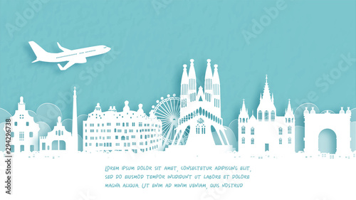 Fototapete Travel poster with Welcome to Spain famous landmark in paper cut style vector illustration.