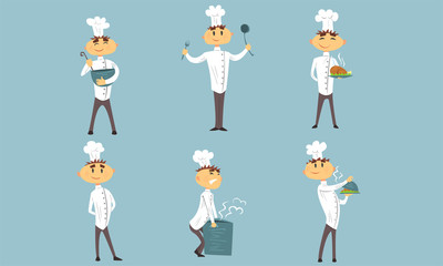 Funny Male Chef Cartoon Characters Set, Cheerful Professional Cook in White Uniform in Different Actions Vector Illustration
