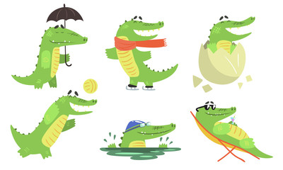 Cute Crocodile Cartoon Character Set, Funny Humanized Reptile Animal Different Activities Vector Illustration Wall mural