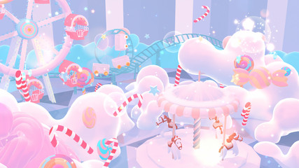 Cartoon pastel amusement park and candy land with shiny game stars explosion effect. Concept of winter wonderland. 3d rendering picture.
