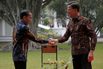 Indonesian President Joko Widodo shakes hand with Dutch Prime Minister Mark Rutte as they plant a tree during a welcoming ceremony at the presidential palace in Bogor