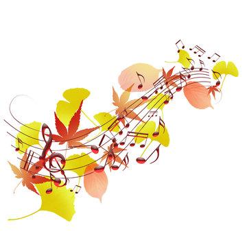 音楽 譜面 楽譜 秋 紅葉 コンサート 五線譜