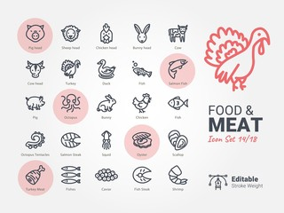 Food & Meat vector icon collection
