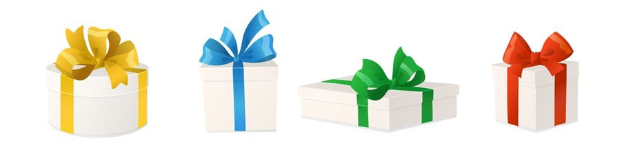 Cartoon gift boxes with bows isolated on white background, vector illustration.