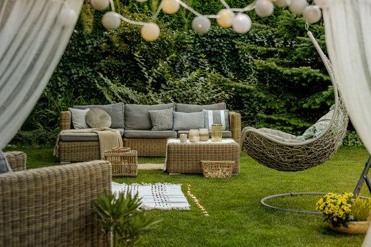 Cozy sofa set in the garden