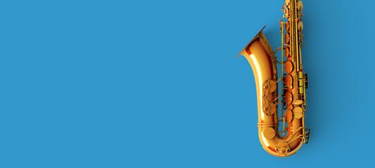 Saxophone on blue background color