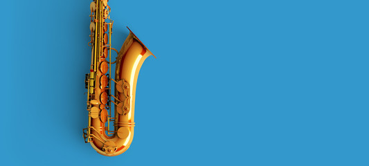 Saxophone on blue background color Wall mural