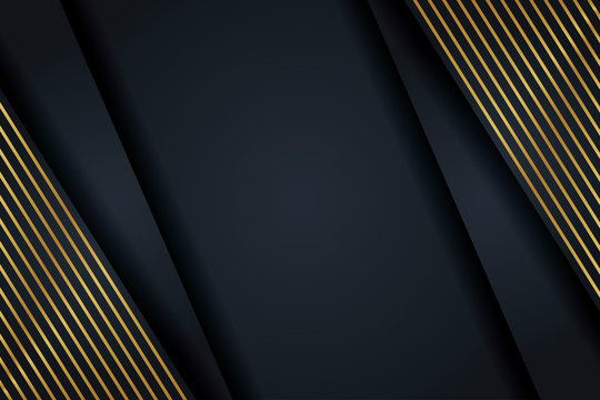 Luxury abstract dark background with gold lines. Decorative element for design.
