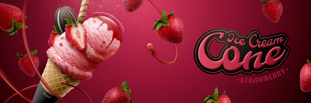 Tasty strawberry ice cream cone ads