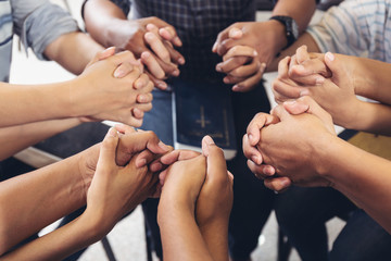 diverse hands holding hold hands circle to pray for God each other support together teamwork