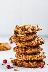 Healthy oatmeal cookies with cranberry and nuts. Healthy vegan food concept.