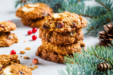 Christmas cranberries and nuts cookies. Christmas dessert concept.