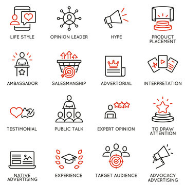 Vector set of linear icons related to business management process, advertising promotion and marketing. Mono line pictograms and infographics design elements - 11