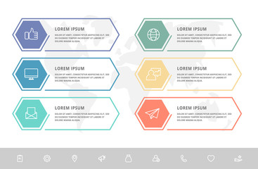 Vector infographic template hexagons shape for six label, diagram, graph, presentation. Business concept with 6 options. Blank space for content, step for step, timeline, workflow, marketing, web