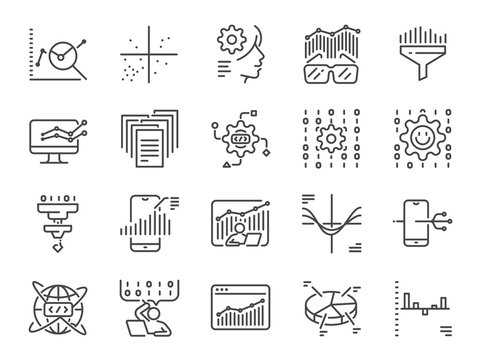 Data science line icon set. Included icons as big data, graph, AI, application, graph plotting, graph relation and more.