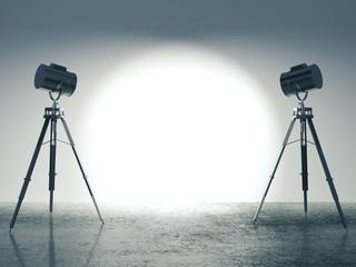 Modern studio with  lighting equipment