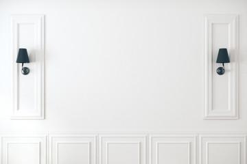 Fototapeta White classic wall with lamps obraz
