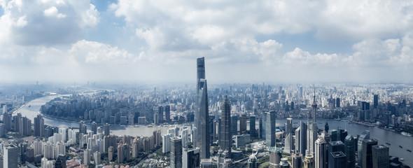 Aluminium Prints Shanghai aerial view of shanghai cityscape