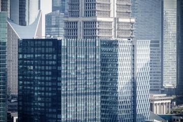 modern office buildings closeup