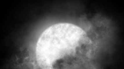 Abstract moon and clouds with mystery smoke background. Astronomy texture for design element, copy space.