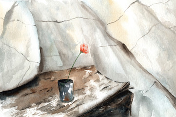 watercolor drawing of an old wooden table, rusty vase with a flower