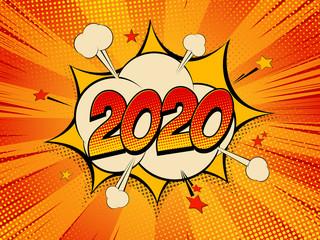 Happy New Year 2020 pop art comic background lightning blast halftone dots.