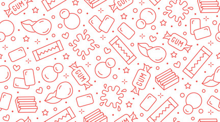 Bubble gum seamless pattern with flat line icons. Chewing candy in stick, pads, bubblegum pack vector illustrations. Cute background for sweets store packaging, pink white color