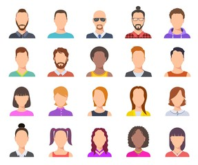 Wall Mural - Flat avatars. Male and female heads, business persons portraits. Users cartoon faces vector set. Illustration profile person avatar, anonymous woman and man portrait