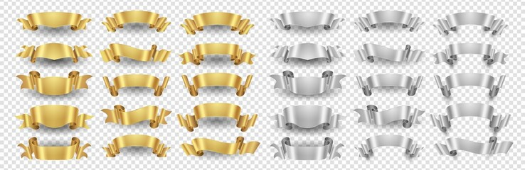 Ribbon banners. Gold silver ribbons vector set. Metallic banners isolated on transparent background. Illustration ribbon gold and silver design decoration