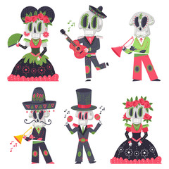 Skeleton characters vector cartoon set for day of the dead holiday isolated on a white background.