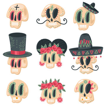Sugar skull vector cartoon set for day of the dead holiday isolated on a white background.