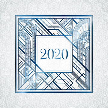 Dark blue art deco 2020 new year frame on light grey background