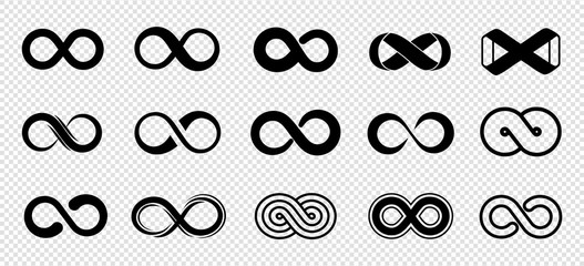 Loop symbols. Infinity vector icons set. Black mobius loop collection. Curve endless, infinity and eternity, unlimited future icon illustration