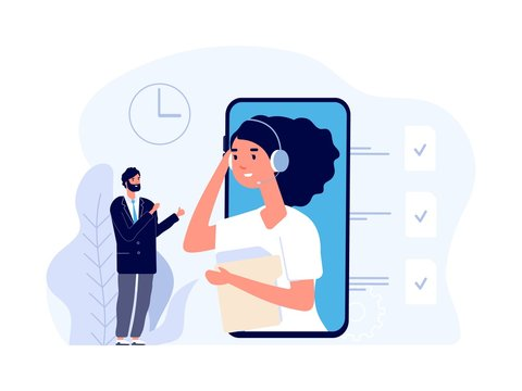 Business assistant. Online secretary service. Flat businessman and time manager. Vector business consulting illustration. Online secretary, support for businessman