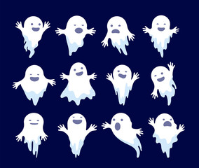 Ghost. Halloween spooky phantom, scary spirits. Mystery dead monsters cartoon vector ghostly characters. Illustration ghost holiday, white ghostly mystery illustration