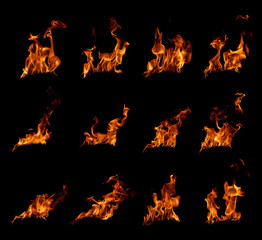 Photo on textile frame Fire / Flame fire flames in black background