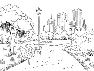 Park graphic black white city landscape sketch illustration vector
