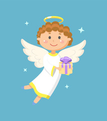 Angel holding gift box with ribbon, portrait view of flying angelic character in white clothes, kid with wings and nimbus, holiday papercard. Tooth Fairy. Vector illustration in flat style