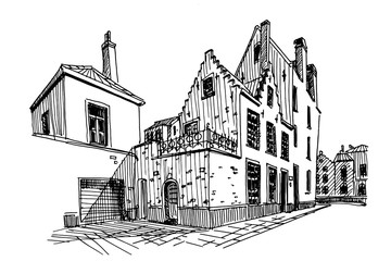 Vector sketch of Traditional architecture in the town of Bruges (Brugge), Belgium
