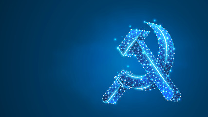 Hammer and sickle. USSR, Soviet Union proletarian solidarity symbol, communism sign. Abstract, digital, wireframe, low poly mesh, Raster blue neon 3d illustration. Triangle, line, dot