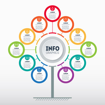 Business presentation or infographics concept with 11 options. Template of tree, info chart or diagram. Info graphic of technology or education process with Eleven steps.