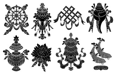 Design set with eight black silhouettes of auspicious symbols of Buddhism isolated on white.