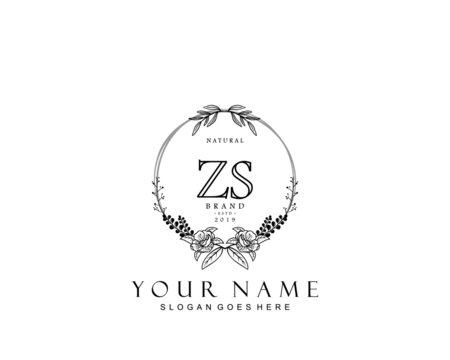 Initial ZS beauty monogram and elegant logo design, handwriting logo of initial signature, wedding, fashion, floral and botanical with creative template