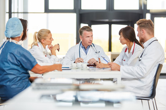 Group of doctors in a team meeting