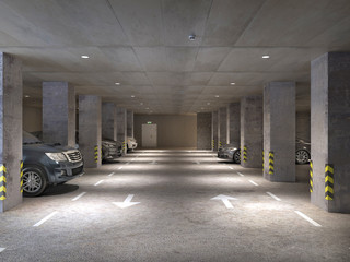 Wall Mural - Underground parking area with concrete columns and cars, 3d illustration