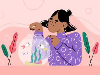 girl and her fish