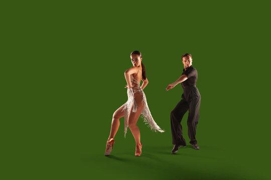 Ballroom dancing isolated on green screen.